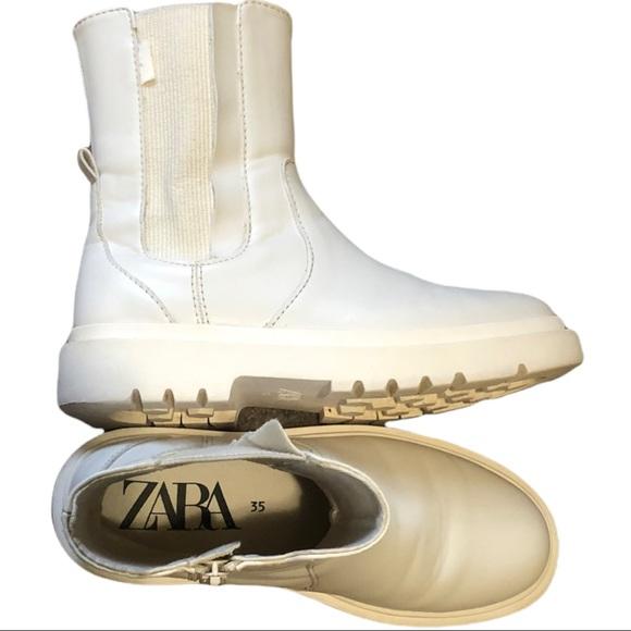 Zara white/white Chelsea boots